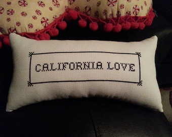 Custom Made Hand Embroidered California Love Pillow