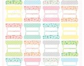 SMALL SIZE Printable Blank Planner File TABS - Digital File Instant Download- floral, polka dots, pastels Home Management
