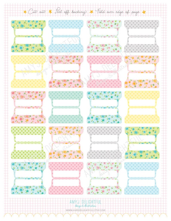 SMALL SIZE Printable Blank Planner File TABS Digital File