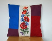 Red blue purple green cushion with vintage wild flower embroidery