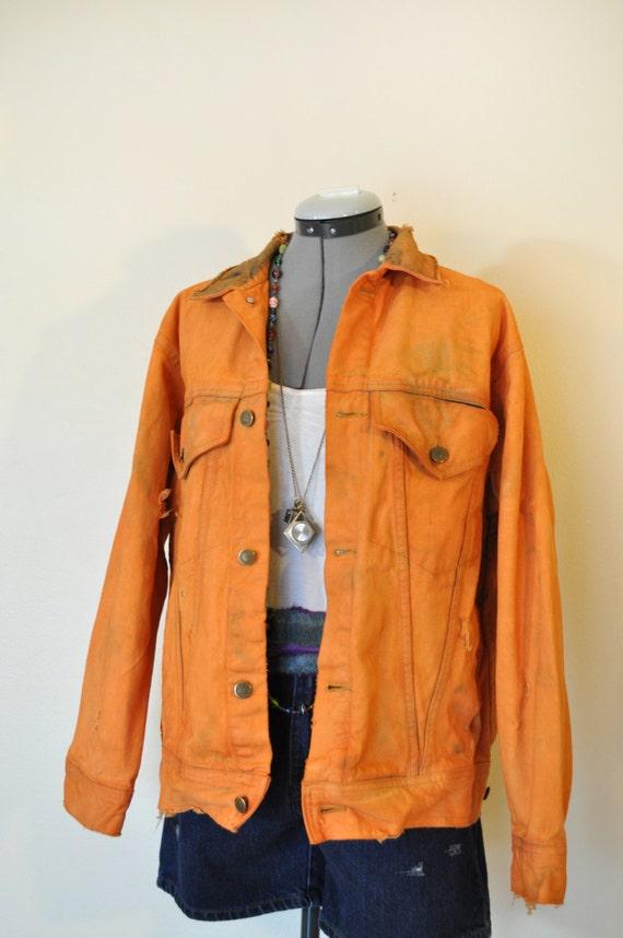 Pretty Little Thing Bright Orange Cropped Denim Jacket.