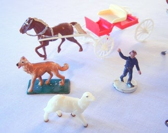 Miniature Plastic Figurines, You Pick Horse and Wagon, Cow, Man, Lamb, Cow, Circus Master, Tree 50s 60s Railroad Miniatures