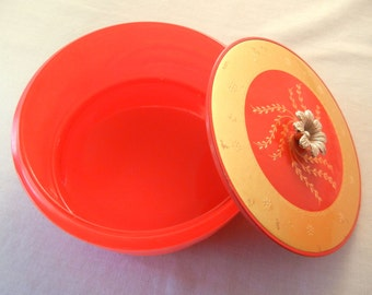 Red and Gold Powder Box, Lidded Heavy Pressed Glass, Festive Collectible Avon Products 50s 60s