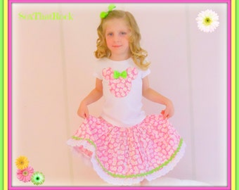 READY TO SHIP 4T Minnie Mouse in Summer Pink twirly skirt set, perfect for Disney, Epcot, Disney cruise, birthday outfit