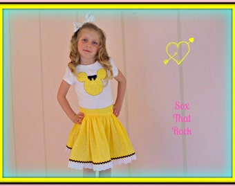 Minnie Mouse twirly skirt & shirt set in bright yellow swiss dot, perfect for Disney, Disney Cruise, Minnie Mouse Birthday