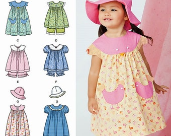 Toddlers' Classic Dress Pattern, Baby Girls' Top and Bloomers Pattern, Sz 6mo to 4, Simplicity Sewing Pattern 1450