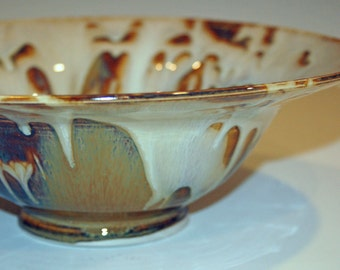 Ceramics and Pottery Bowl, Gold and White, Pasta Bowl, Fruit Bowl, Ceramic Bowl