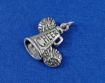 Cheerleader Megaphone and Pom Poms Charm - Sterling Silver Cheerleader Megaphone Charm for Necklace or Bracelet