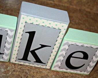 Luke Collection- Name Blocks - Gray Chevron and Mint Polka dots - Baby Shower Blocks - Baby Blocks-Photo prop-Boy Personalized Blocks