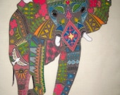 Large Elephant Linen Fabric Pillow Panel 12""
