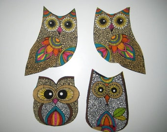 Large Owl Family Fabric Iron on Applique
