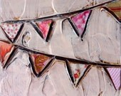 "Original ""Little"" Mixed Media Painting 5x5- Bunting Series-Pink"