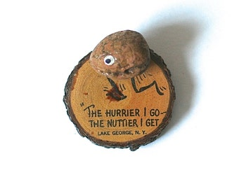 Vintage Kitsch Walnut Figure On Wood Slice Novelty Souvenir Lake George
