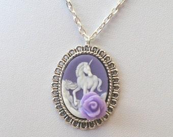 Unicorn Necklace in Silver, Unicorn Cameo Necklace, Purple Unicorn Necklace.
