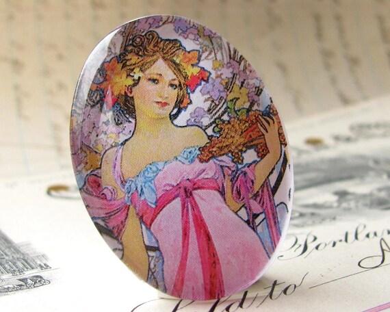 Art Nouveau cabochon, Mucha woman print, handmade 40x30 40x30mm 30x40mm 40 30 mm glass oval cabochon, pastel green sage, pastel pink, hair