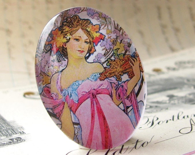 From our Art Nouveau collection, Alphonse Mucha 'Moet & Chandon', woman, handmade 40x30 40x30mm 30x40mm, glass oval cabochon, pastel pink