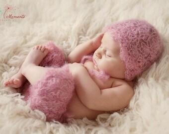 Newborn Baby Mohair Bonnet and Pant Set, Newborn Size , Photography Prop