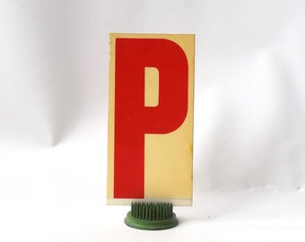 "vintage 1970's industrial marquee sign letter P type acrylic plastic red on white aged 6.5"" tall decorative home decor church typography old"