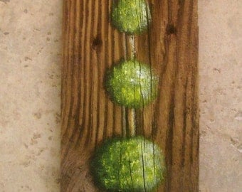Topiary Hand Painted on Reclaimed Wood Fence Board Wall Plaque