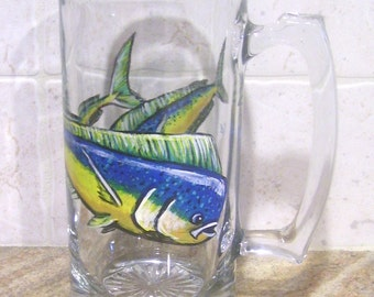 Dolphin/Mahi Mahi Beer Mug Glass Hand Painted Sport Fish (Custom Order Only) Fisherman