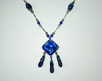 1930s Art Deco blue Czech glass necklace