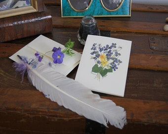 Wild Violets nosegay card, wildflower, Victorian, blank note card, pressed flowers, giclee print, nosegay bouquet,