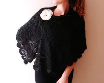 Black Capelet Lacy Shawl Knit Wrap Romantic Soft Scarf  with brooch