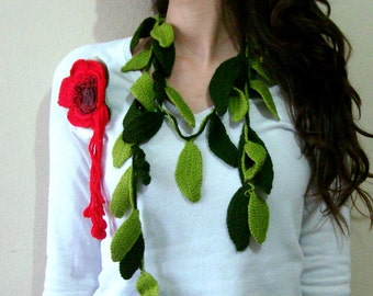 Crochet leaf scarf  with red flower brooch, skiny scarf necklace