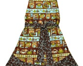 Womens Apron Vintage Style Full Length Apron Cute Retro Style Ladies Coffee Lover Baker Cook Kitchen Gift Idea