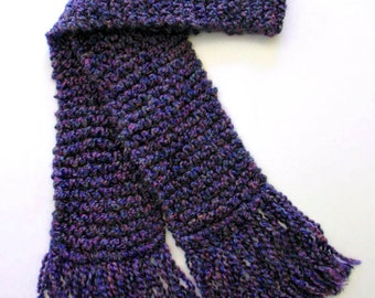 Purple Scarf, Hand Knit Scarf, Long Chunky Knit Scarf, Men or Women Knitted Winter Scarf, Eggplant Scarf