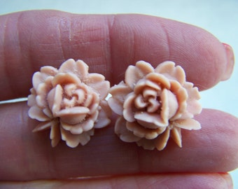 Tan Earrings - Rose Earrings - Resin Post Earrings Doodaba