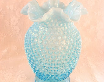 Vintage Fenton Hobnail Ice Blue Ruffled Edge Glass Vase