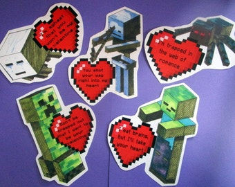 6 Building Block Video Game Valentines handrawn - instant download digital files