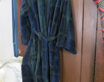 Vintage mens TERRY TOWN  Terry / velour blue green plaid robe