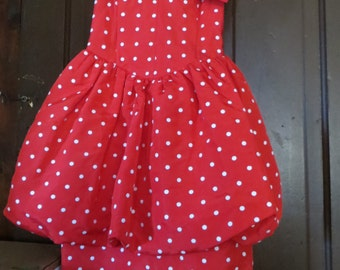 Vintage 1980s All That Jazz   polka dot SWEATHEART bust style  strapless party dress  sz. 3-4
