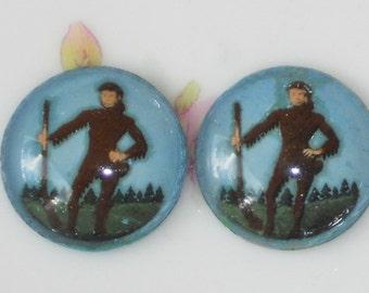 Vintage Cabochons Daniel Boone or Davy Crockett Glass Round 18mm NOS. #1196