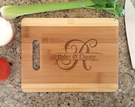 Personalized Initial with Name Wedding Design Custom Cutting Board Retro Christmas Decor Gift for Wedding, Anniversary, Newlyweds, Holidays