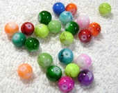 Veined Glass Beads - Assorted Colors - (8mm) - (24 Pcs) - B-1505