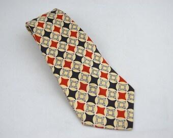 1940s - 50s  Red Blue Cream Diamond Neck tie - Wide Necktie