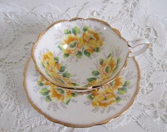 Royal Standard Tea Cup & Saucer Yellow Peony