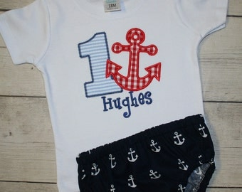 Seersucker and gingham Anchor Nautical Birthday Applique Shirt and diaper cover-Cake smash outfit- Red, white and blue birthday outfit