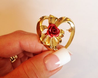 Vintage Heart Brooch, Red Rose and Bow, Valentine Heart, 1980's