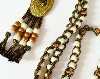 Vintage Tassel Necklace, White iridescent beads, Copper beads, Long Length 1970's