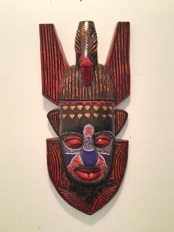 Wooden Bird Mask Wall Art Tribal African Symbol of Peace