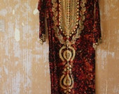 vintage. 60s  Moroccan Red Caftan  / Cotton Kaftan // S to M