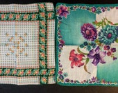 Two Vintage 1940's Unusual Fine Cotton Flower Print Hankies