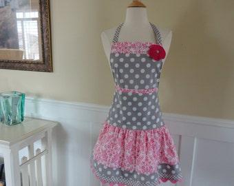 Pretty in Pink  ~ Ellie Style Women's Apron ~ 4RetroSisters