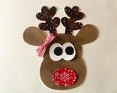DIY Iron On Reindeer Applique -  Red Nosed Reindeer Applique - Bow Included - [RA03-]