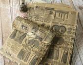 medium vintage newsprint VICTORIAN LADIES Kraft paper giftwrap bags
