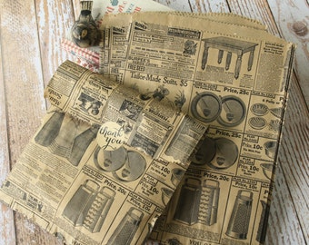 medium vintage newsprint VICTORIAN LADIES Kraft paper giftwrap bags